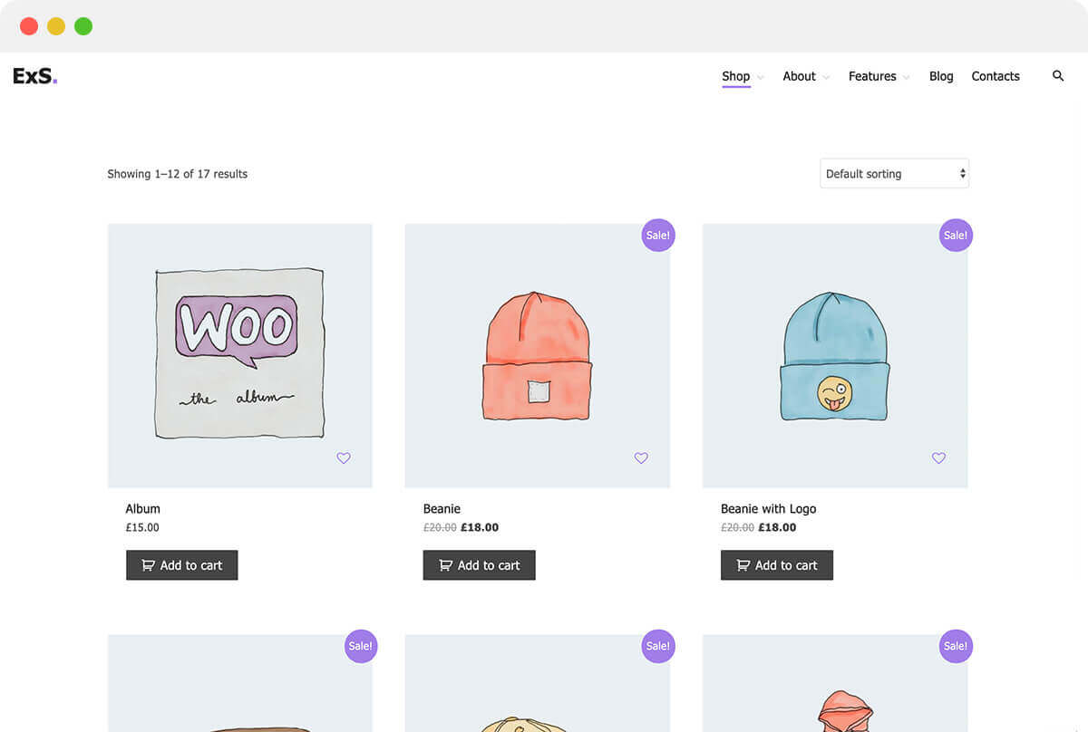 ExS theme demo for online e-commerce store WordPress site with WooCommerce plugin support