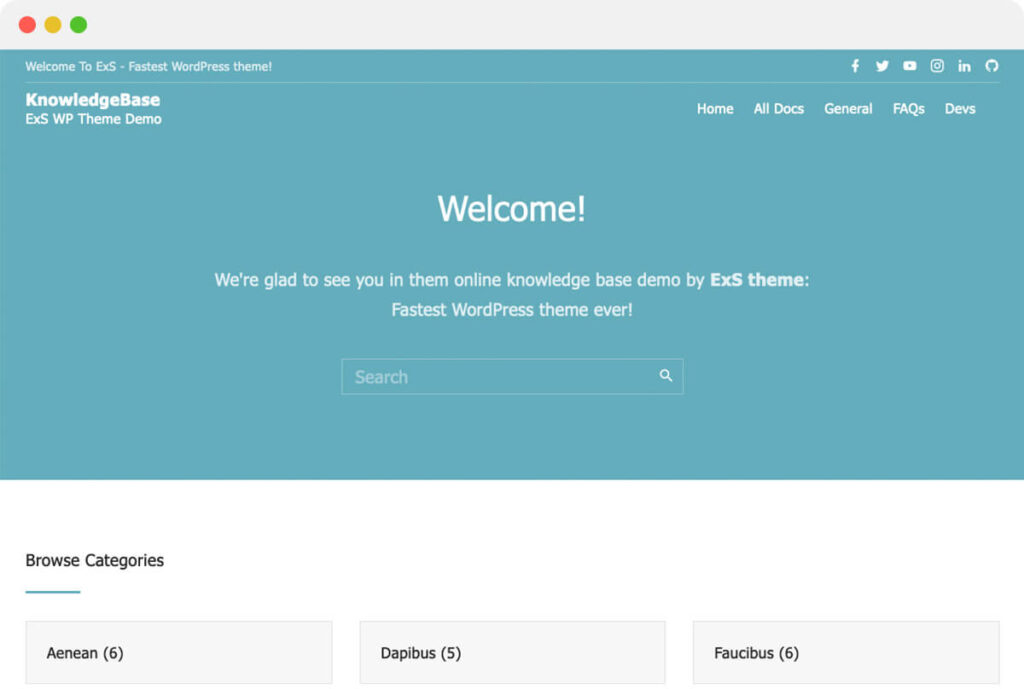 ExS theme demo for Knowledge base WordPress site