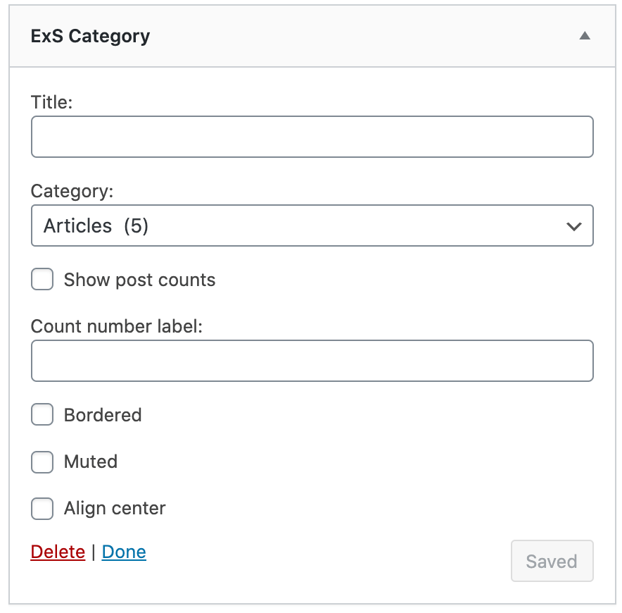 ExS category widget options
