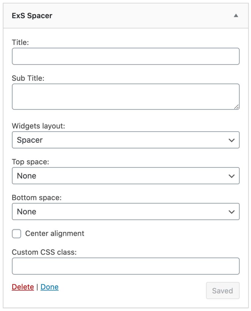 ExS spacer widget options