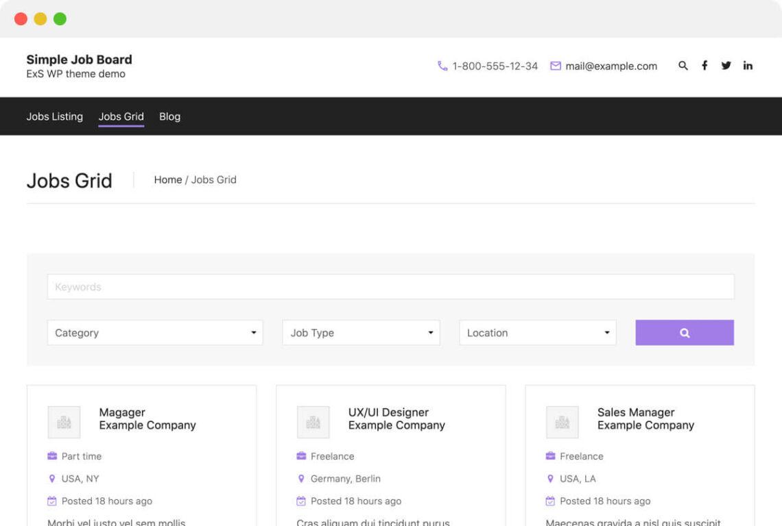 ExS is the best Job Board WordPress theme