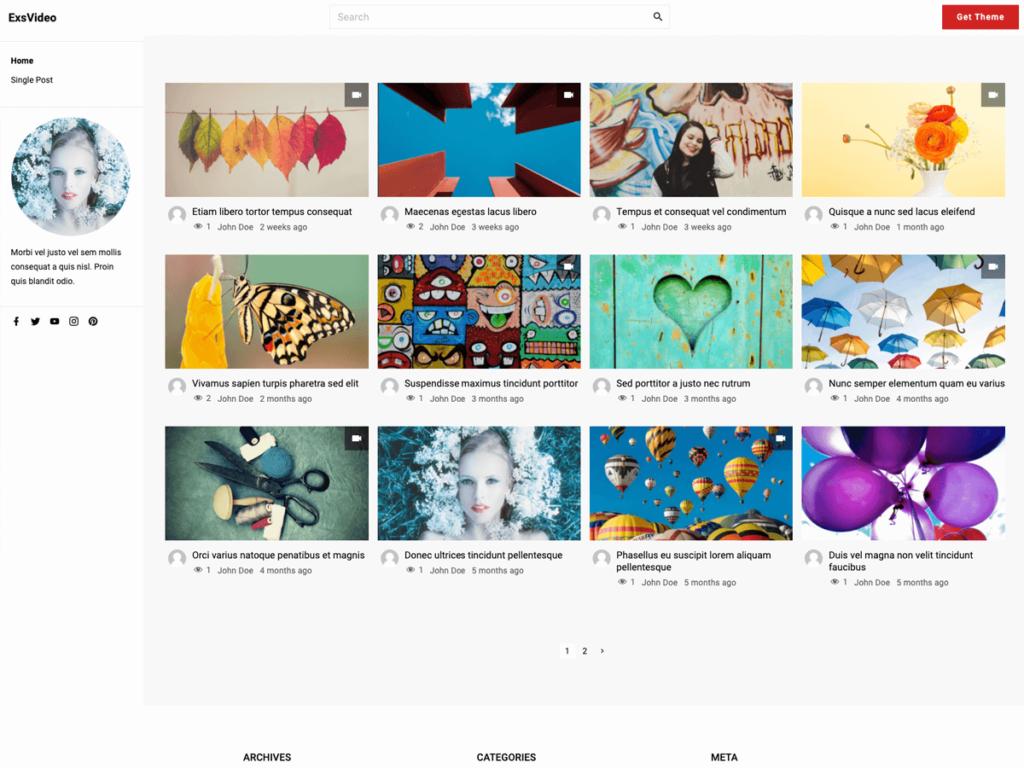 ExS Video WordPress theme demo