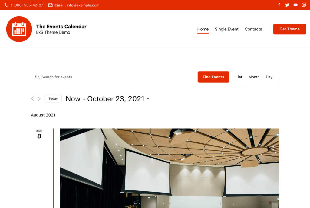 ExS WordPress theme Events Calendar demo